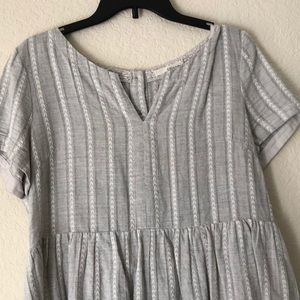Grey and white print babydoll top